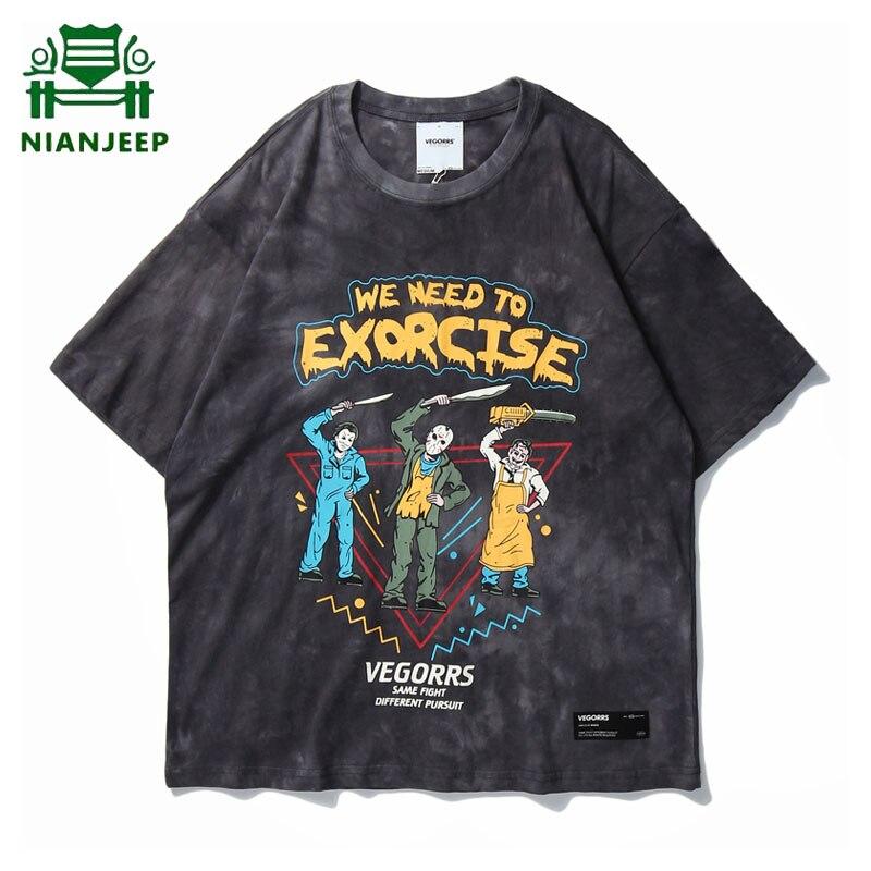 Camiseta con estampado de Hip Hop para hombre, Harajuku Streetwear, divertidas camisetas de manga corta para hombres y mujeres, holgado Retro Wash Lovers, camisetas masculinas