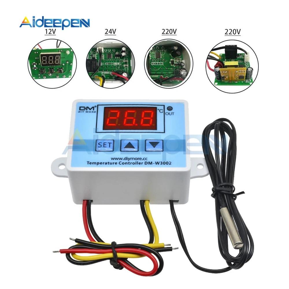 Xh W3002 Dc 12v 10a Digital Led Temperature Controller 12v 24v 220v Heating Cooling Temperature Control Switch Probe Lcd Display Temperature Instruments Aliexpress
