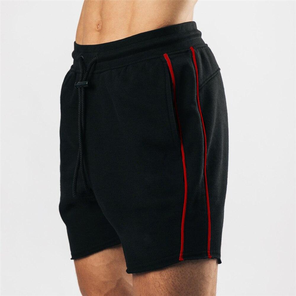 Black Cotton Casual Shorts Men Gym Fitness Bodybuilding Bermuda Summer Crossfit Sport Short Pants Bo