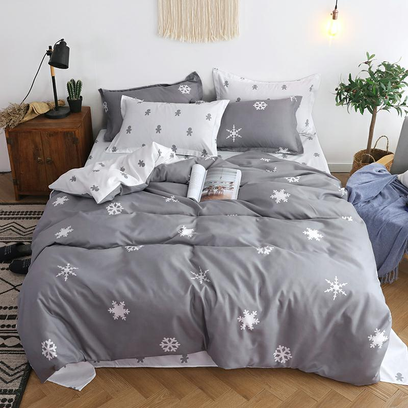 Фиолетовый Комплект постельного белья из 4 предметов для девочек, пододеяльник с рисунком, простыни и наволочки для взрослых, Комплект пост...