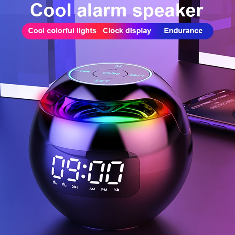 Mini Bluetooth Speaker Wireless Bluetooth Sound box with LED Display Alarm Clock Hifi TF Card MP3 Music Play