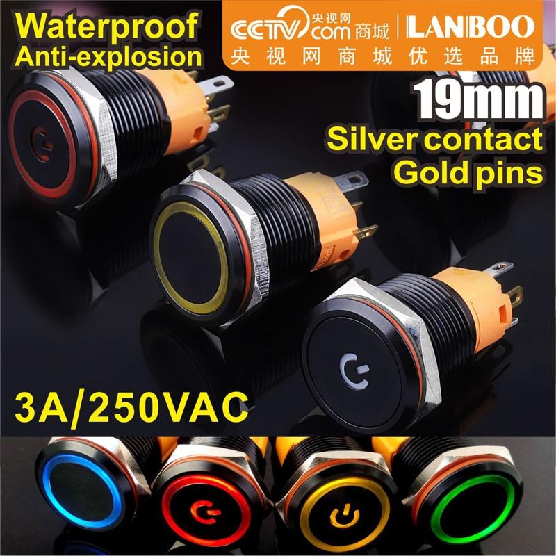 Lanboo 19mm 1NO1NC, interruptor de botón de encendido-apagado de cabeza plana Metal, Metal negro, acabado de aluminio, con LED