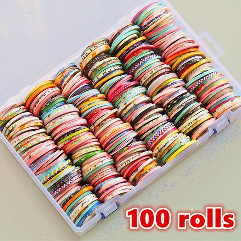 100 Rolls Washi Tape Set,Foil Gold Skinny Decorative Masking Washi Tapes,2-6MM Wide DIY Masking Tape,Some tapes have a repeating