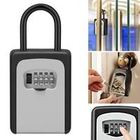 key safe lock box outdoor wall mounted aluminum alloy key safe box weatherproof 4 digit combination key storage lock box