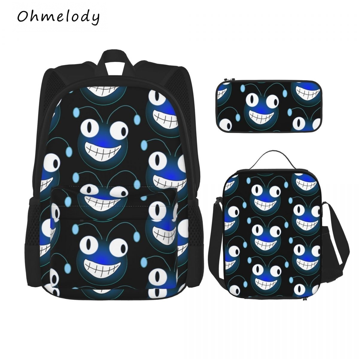Cartoon Smile Face Teenage Boys Girls School Backpack Lunch Bag Pencil Case 3PCS Casual Daypacks College 15.6in Laptop