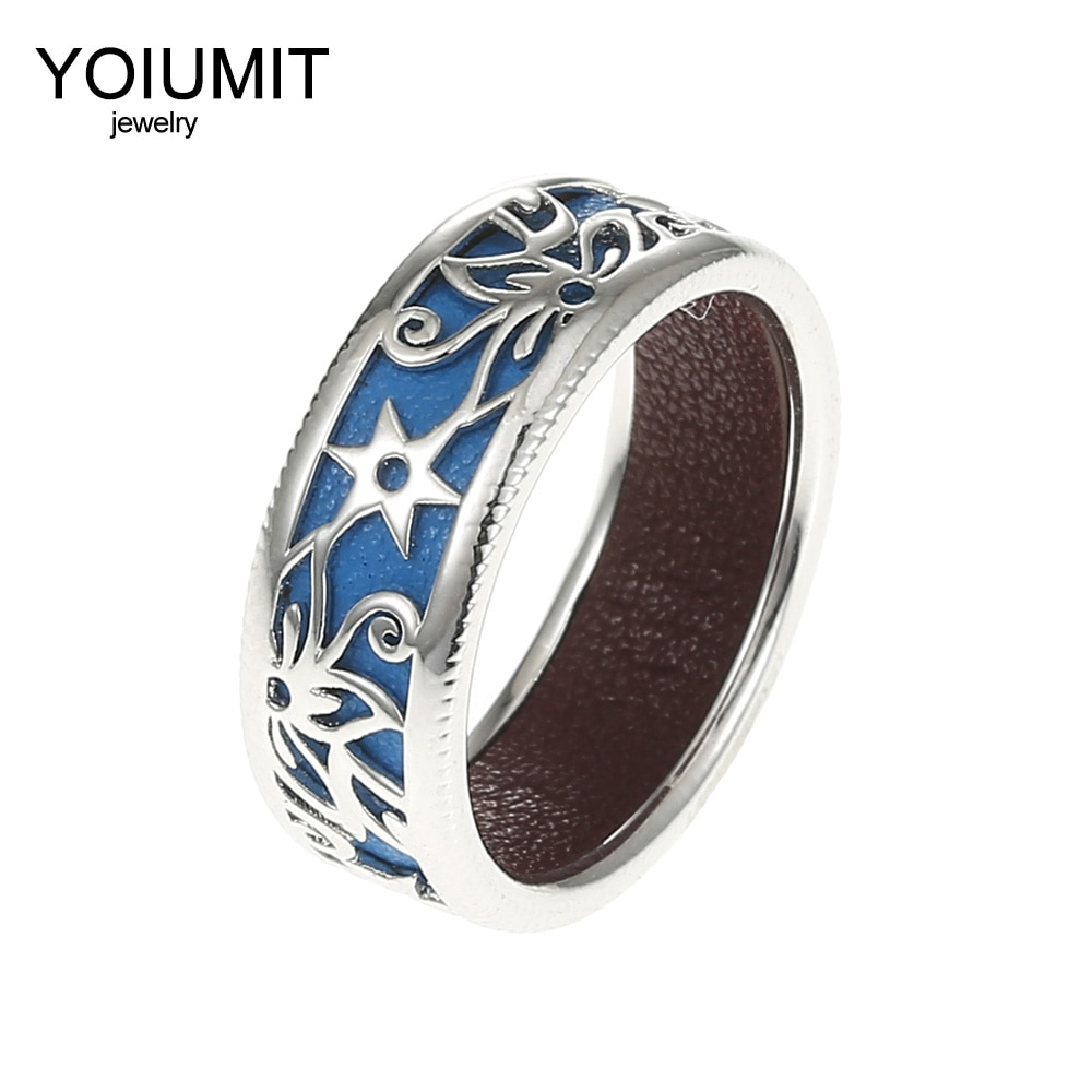 Nuevos anillos de moda Cremo, anillo de cuero intercambiable de cobre, joyería fina para mujer, flor hueca, regalo para dedo
