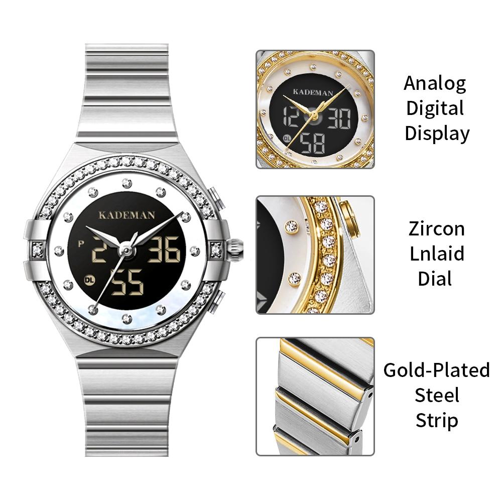 KADEMAN Women Watchs White Fashion Sport Watch LED Digital Quartz Casual Clock Dual Display Wristwatch Relogio Feminino With Box enlarge