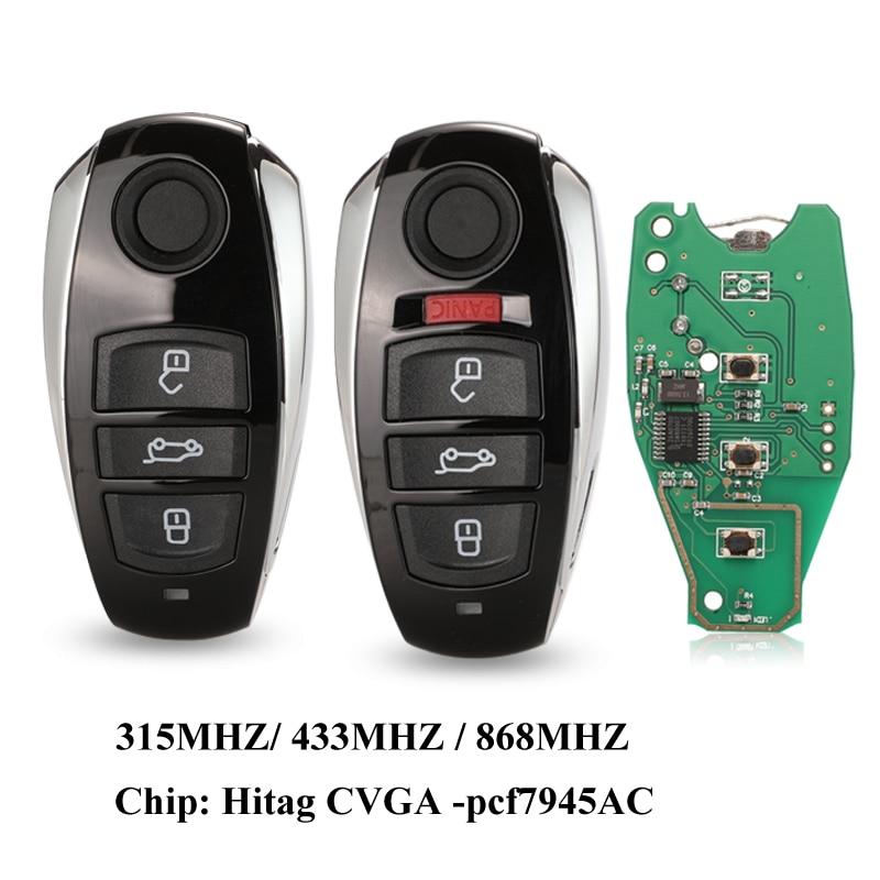 Jingyuqin for VW Volkswagen طوارق 2010-2014 HitagCVGA PCF7945AC رقاقة 315Mhz 433Mhz 868Mhz الذكية عن بعد مفتاح السيارة فوب 3/4 أزرار