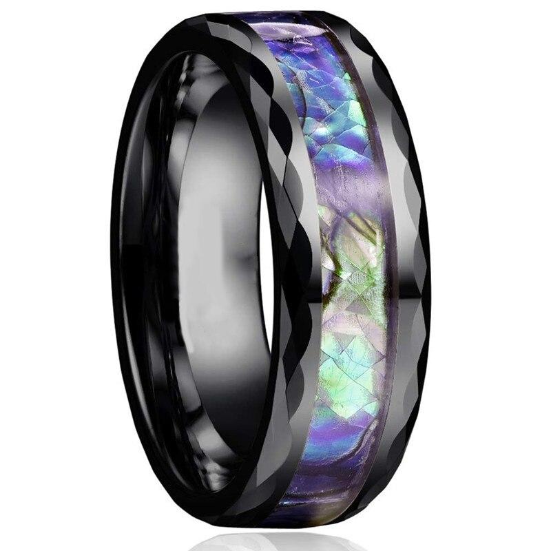 Anillo de boda de resina Natural de 8mm, anillo de acero inoxidable con bisel y incrustaciones de concha de abulón, anillos para mujeres y hombres, joyería de compromiso