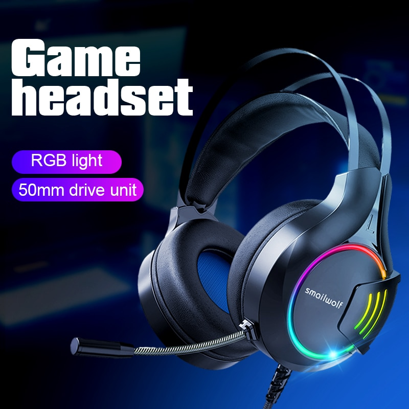Gaming Headsets Gamer Headphones Surround Sound Stereo Wired Earphones USB Microphone Colourful Light PC Laptop Game Headset недорого