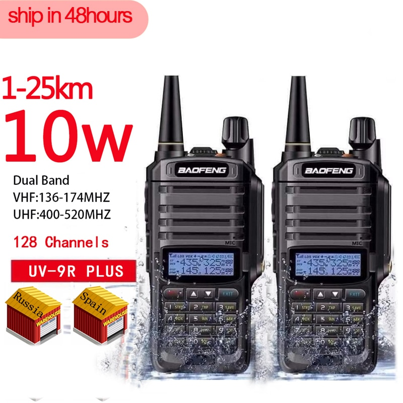 2pcs high quality 10W 25km Baofeng UV-9R plus  ham radio cb radio comunicador waterproof walkie talkie baofeng uv 9r plus рация