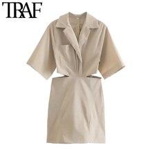 TRAF ผู้หญิงเก๋แฟชั่นกระเป๋า Hollow Out Mini Dress Vintage แขนสั้นกลับซิปหญิง Vestidos