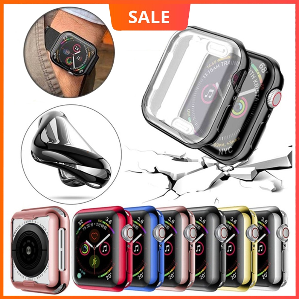 360 slim watch cover for apple watch case 5 4 3 2 1 42mm 38mm soft clear tpu screen protector for iwatch 4 3 44mm 40mm Watch Cover TPU Protector Case for Apple Watch 5 4 3 2 1 42MM 38MM Soft Clear Screen for iWatch 5 44MM 40MM Full Protector Case