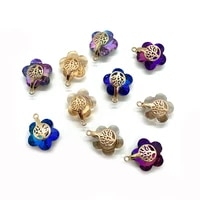 charms for jewelry making 10pcs flower shaped crystal jewelry gold alloy pendants in various colors diy accessories