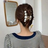 hair claws elegant pearl grab clip acrylic big size hair claws hair barrettes fashion horsetail clip for women hair accessories