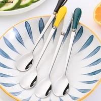 1618cm coffee stirring spoon ceramic long handle brilliant ice cream teaspoon black dessert spoon stainless steel tableware