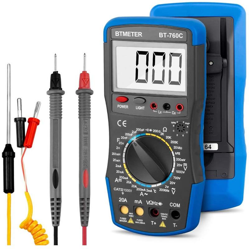 BTMETER LCD Digital multímetro Volt/Ohm Tester mide la corriente, voltaje, resistencia, inductancia de capacitancia, temperatura, frecuencia