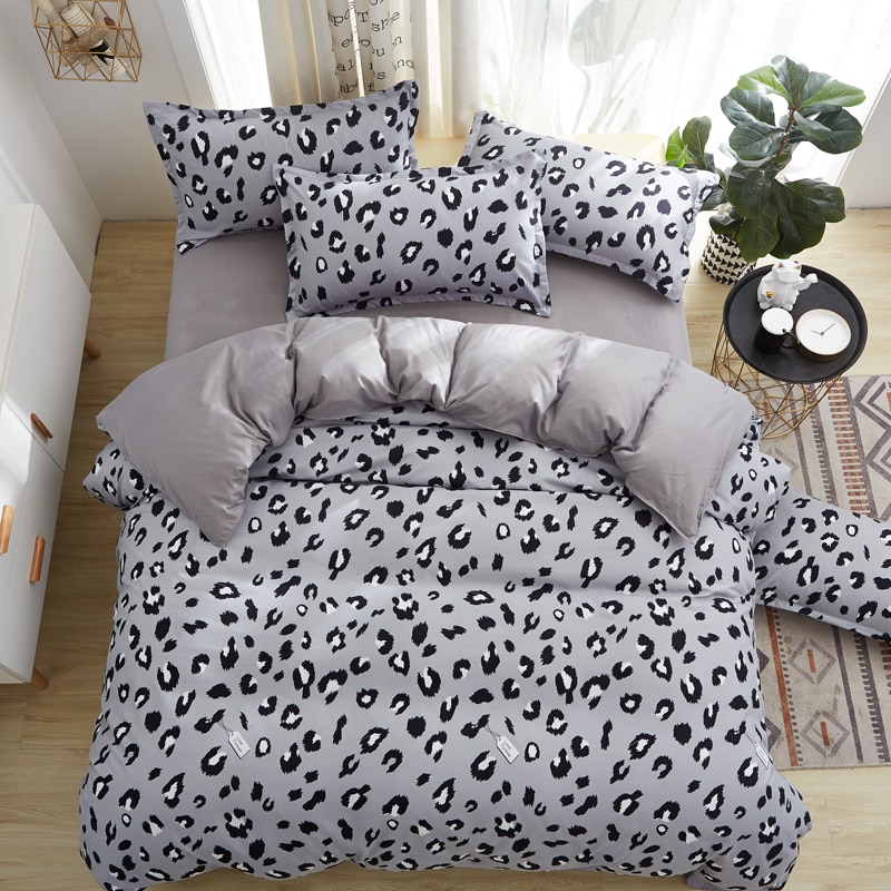 Ensemble de literie en Textile à la maison   Ensemble housse de couette, drap de lit plat, taie doreiller 3-4 pièces, léopard gris, reine du roi