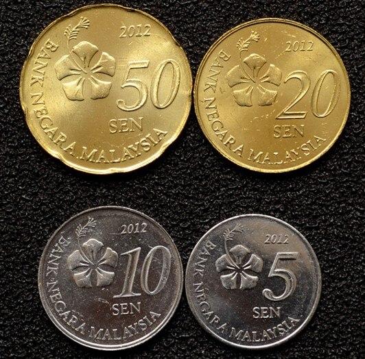Set 4Pcs Malaysia 5 10 20 50 Cents Coins Asia 100% Real Original Coin New