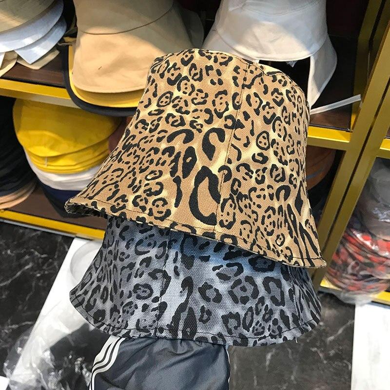 Ins mujeres estampado de leopardo sombrero de cubo gris Camel plano Top Primavera Verano moda pesca gorras calle plegable sombrero de protección solar