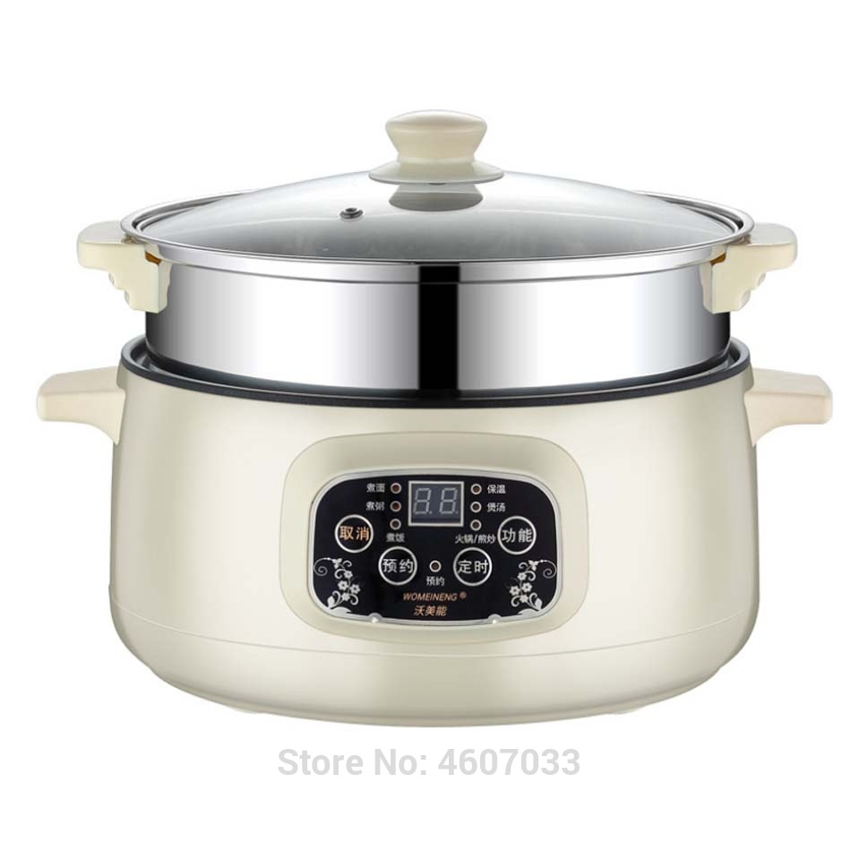 220V Multifunctional Electric Cooker Heating Pan Electric Cooking Pot Machine Hotpot Noodles Eggs Soup Steamer mini rice cooker multifunctional rice cooker 400w low power mini household electric cooker