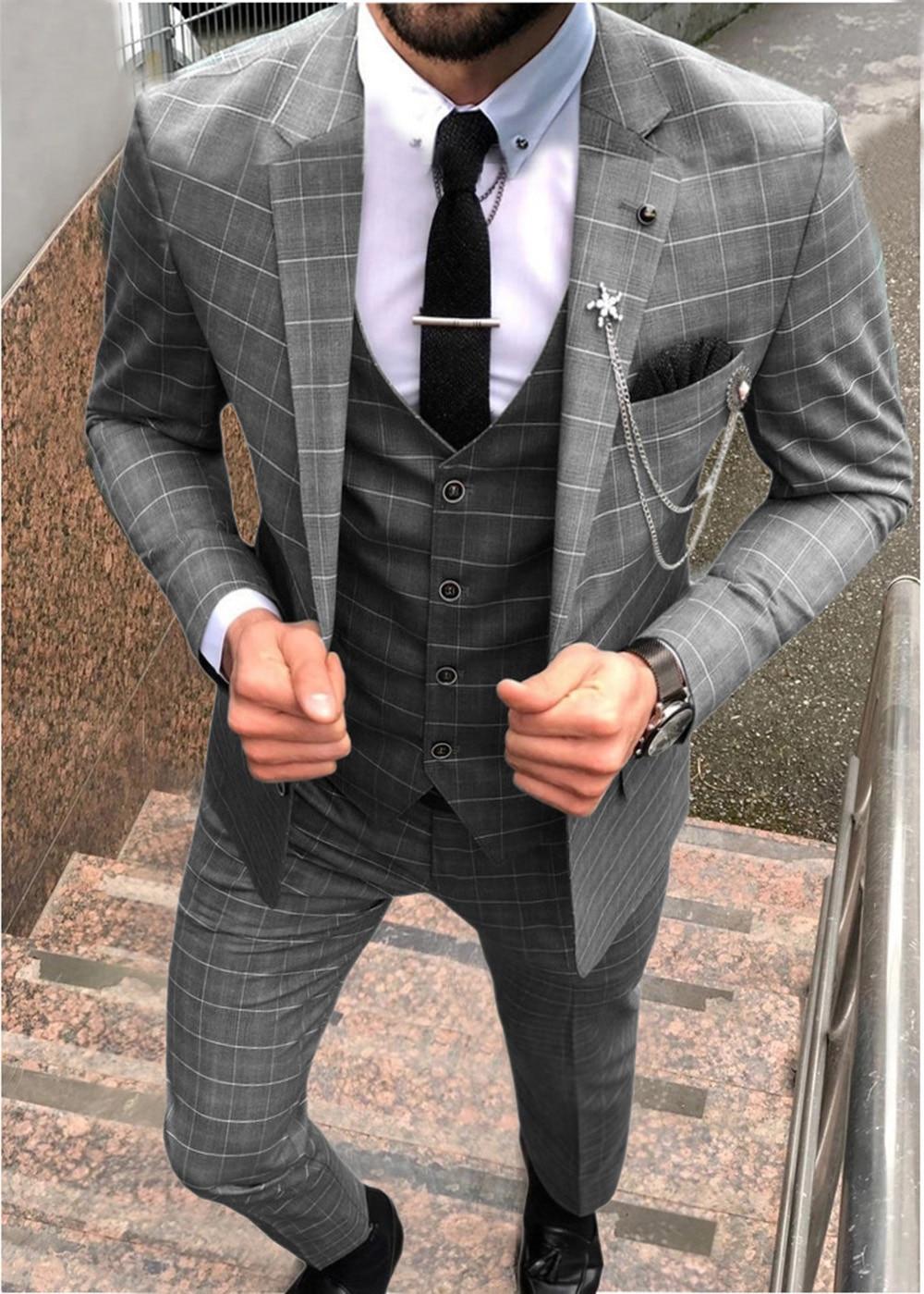 Teal/Grey/Brown Men's Suit 3 Pieces Plaid Business Casual Notch Lapel Tuxedos Groomsmen Men Suits for Wedding(Blazer+vest+Pants)