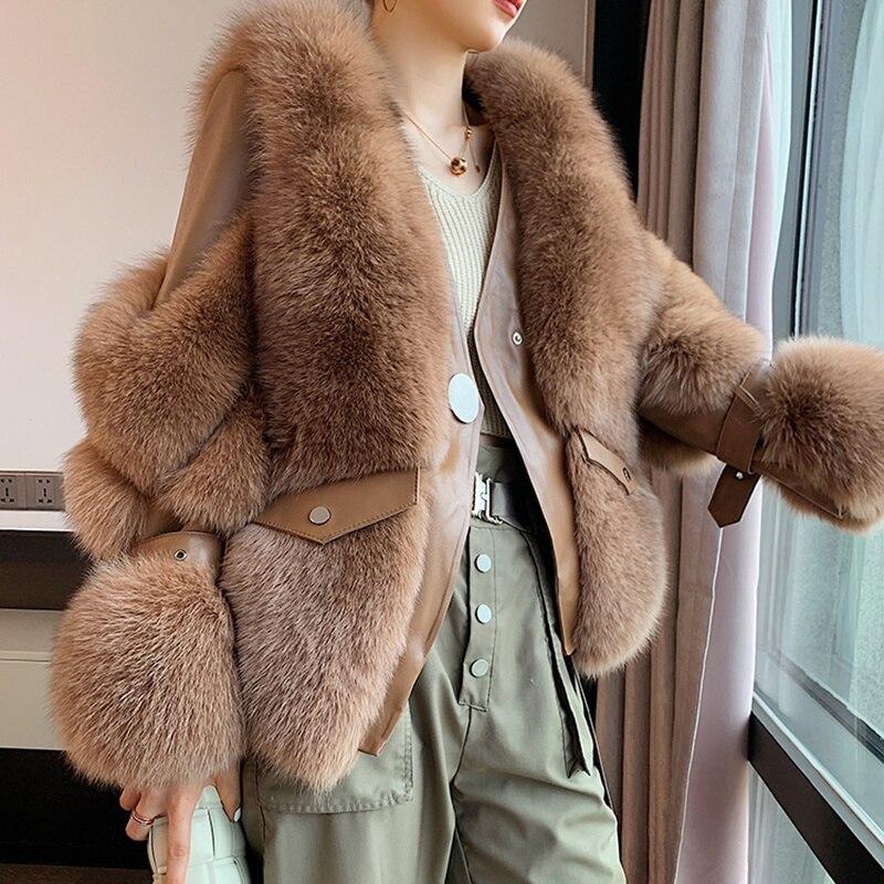 SHZQ جديد معاطف الشتاء النساء سترة الفراء الحقيقي الخامس طوق الطبيعية كبيرة منفوش الثعلب الفراء ملابس خارجية الشارع الشهير الدافئة الوقوف طوق