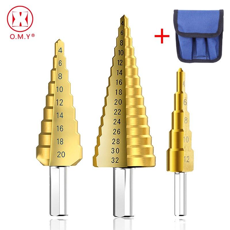 1/3Pcs/lot Professional HSS Steel Large Step Cone Triangular handle Coated Metal Drill Bit Cut Tool Set Hole Cutter 4-12/20/32mm