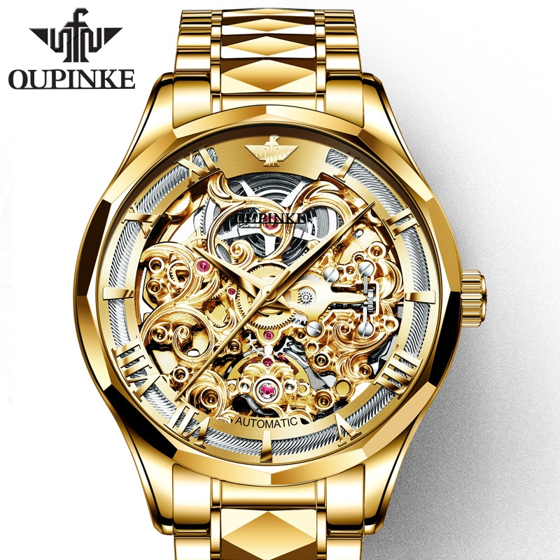 OUPINKE-ساعة ميكانيكية للرجال ، فاخرة ، آلية ، هيكل عظمي ، مقاومة للماء ، الياقوت ، ساعة يد عمل ، ذهبي