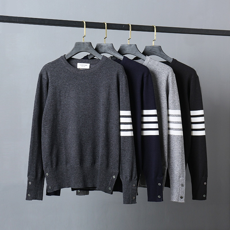 2021 Fashion Brand TB Sweaters Men Slim Fit O-Neck Pullovers Clothing Striped Wool Cotton Solid Autumn Winter Casual Coat