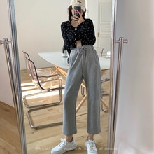 Sports Casual Pants for Women Spring 2021 New Korean Style High Waist Slimming Wide Leg Pants Loose