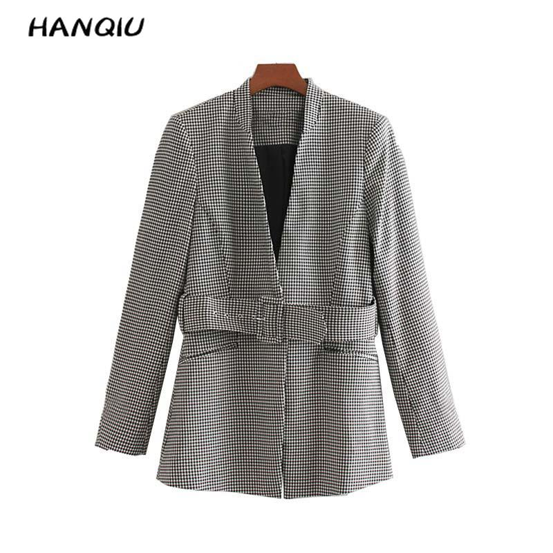 2019 Vintage tweed blazer women plaid blazer coats korean style houndstooth blazers and jackets office long coat blazer feminin