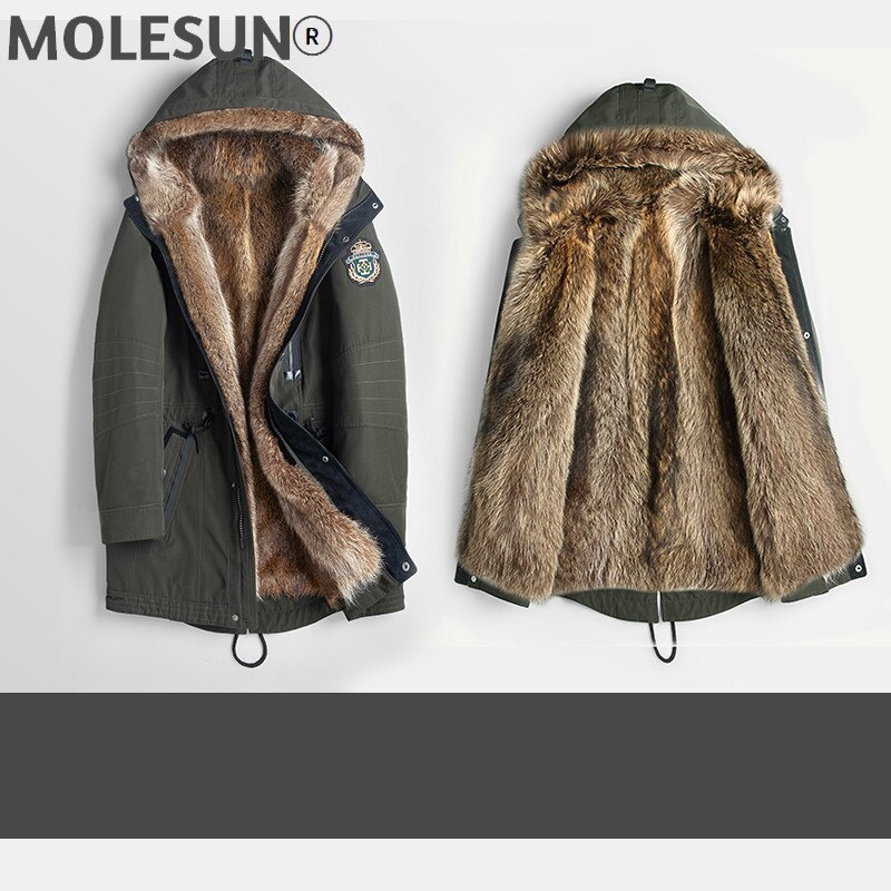 AKOOSUN ملابس الرجال الشتاء سترة 5XL مقنعين ملابس رجالي الرجال ريال الراكون الفراء معطف سميك سترات الذكور Ropa Hombre LXR447
