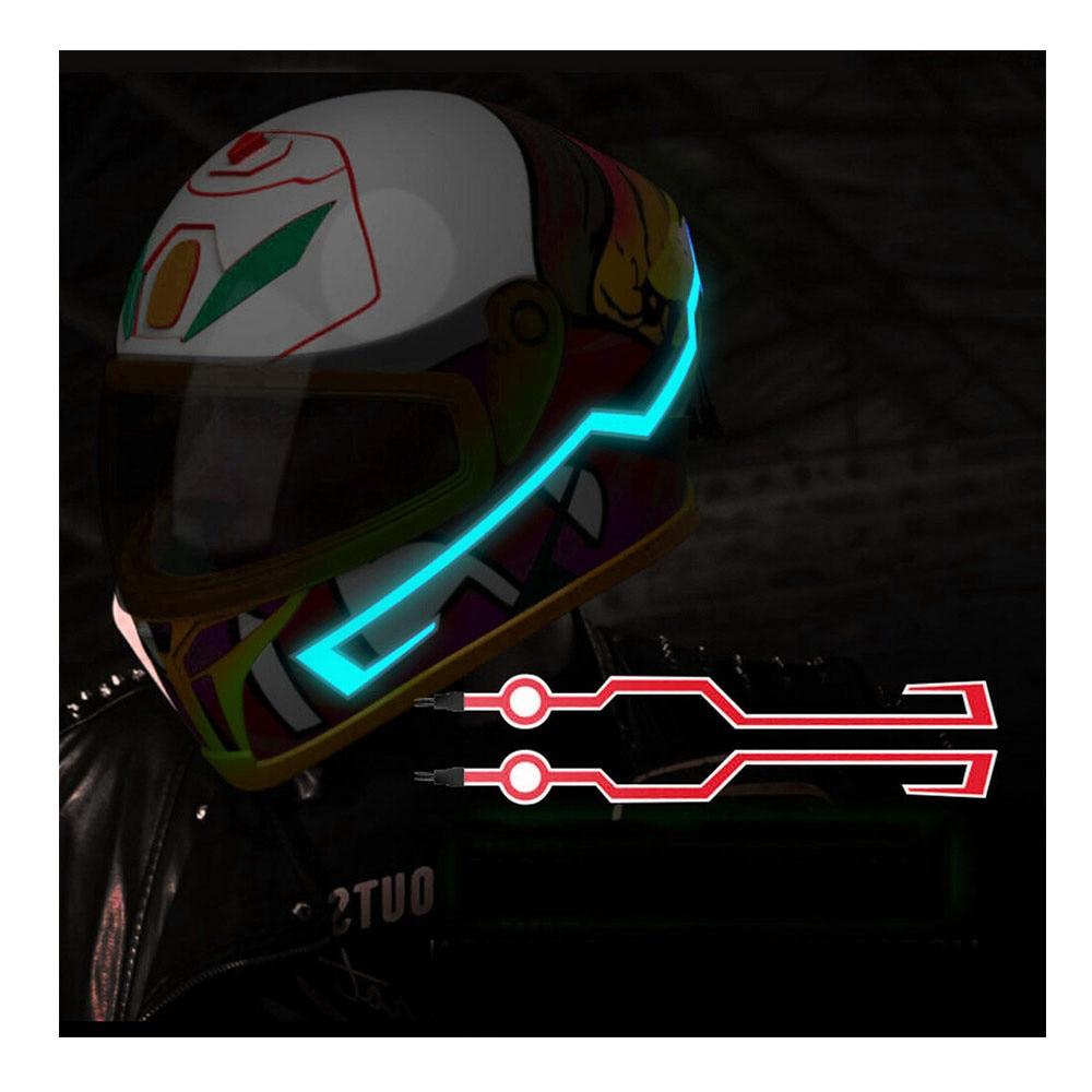 Kit de pegatinas para casco de motocicleta, 2 uds., resistentes al agua, luz para montar, cinta para EL casco, LED intermitente, duradero, DIY, 3 modos
