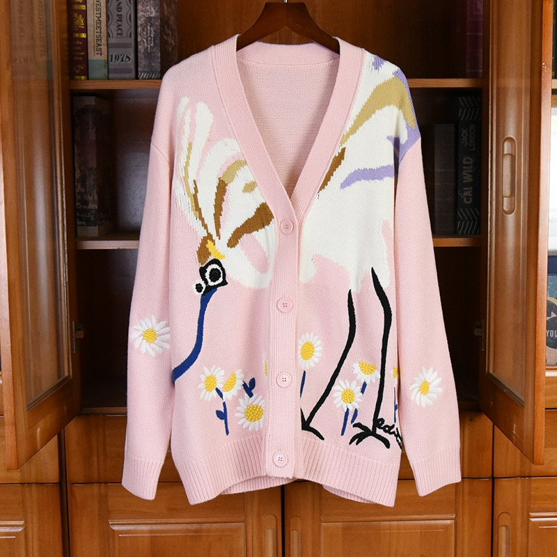 New Arrival Cardigan Coats 2021 Autumn Style Women Charming Flower Patterns Knitting Long Sleeve Casual Yellow Pink Red Cardigan enlarge