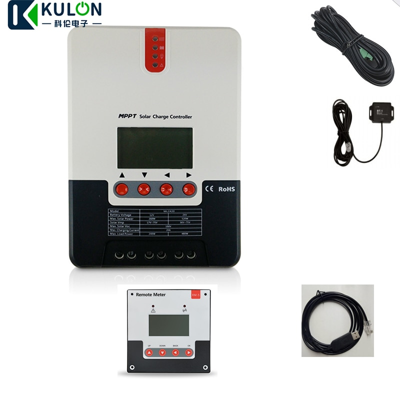 SRNE 20A MPPT ML2420 LCD عرض 12V 24V السيارات الشمسية لوحة الخليوي شاحن منظم مع درجة الحرارة كابل و RS232 BT-1 RM-5