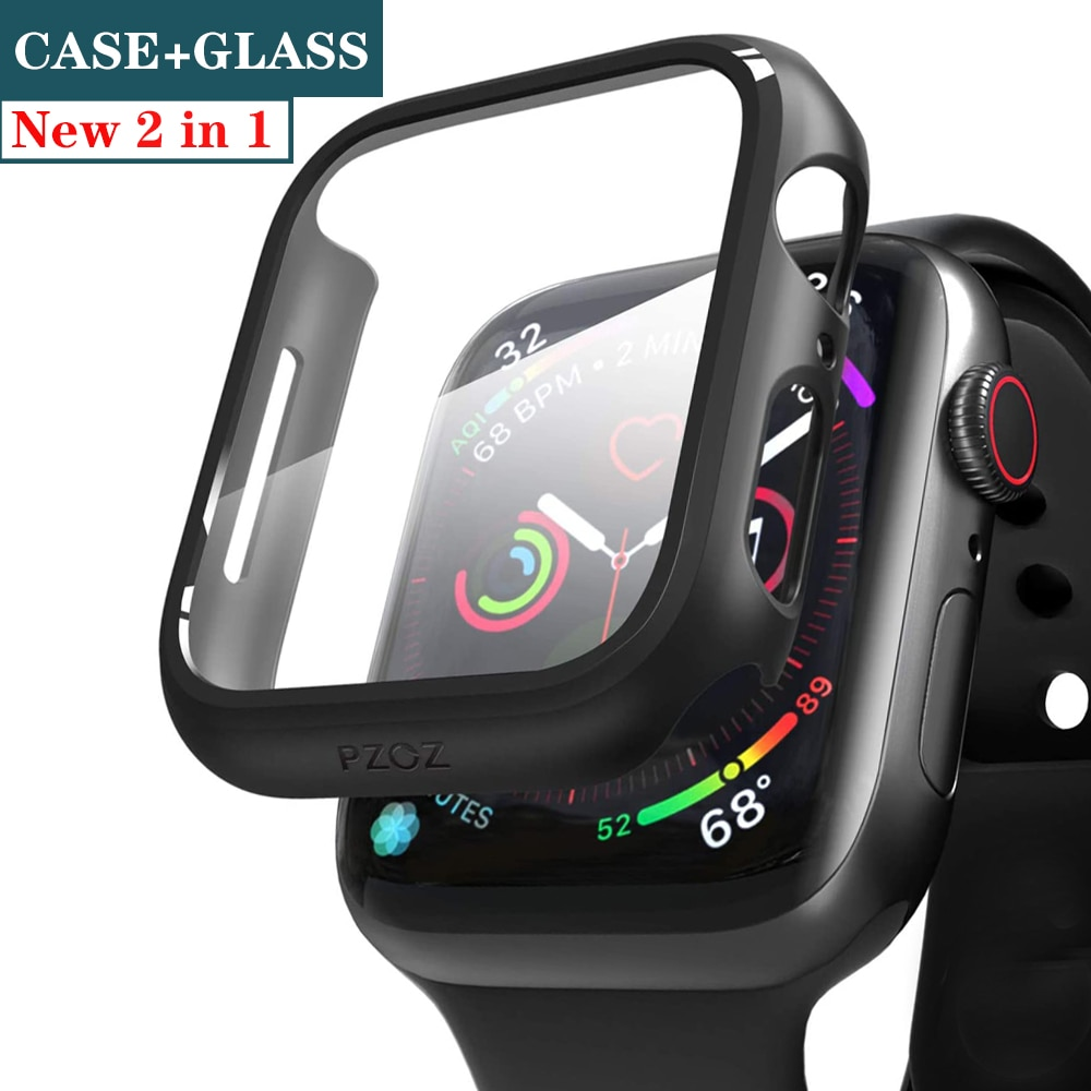 Protector de pantalla de cristal + cubierta para Apple Watch, 44mm, 40mm,...