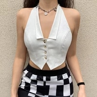 womens sexy backless tank tops solid color buttons lapel v neck hanging neck slim wid chic irregular hem cropped vest