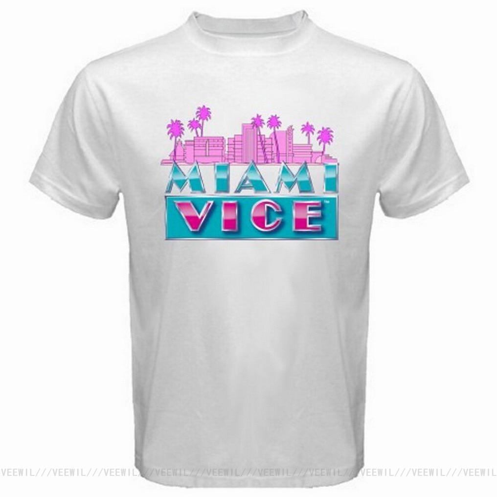 Camiseta blanca de la serie de TV de MIAMI VICE Classic para...