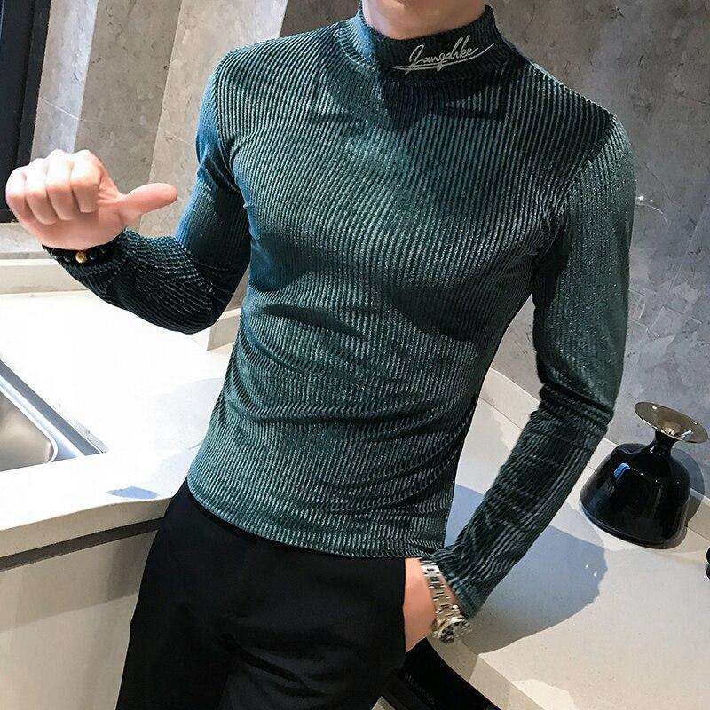 2019 outono de veludo t camisa bordado gola alta retro camiseta dos homens listra casual t-shirts ajuste fino hip hop harajuku