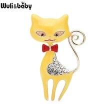 Wuli & bébé tchèque strass émail chat broches femmes alliage 2-couleur gris jaune chat Animal décontracté bureau broche broches cadeaux