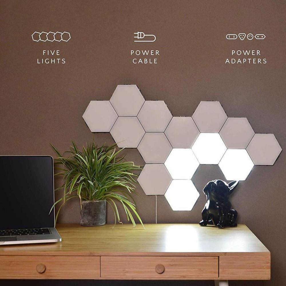 Lámpara cuántica, lámparas hexagonales, iluminación Modular sensible al tacto, luz LED nocturna, Hexagonal magnético, decoración creativa, Lampara de pared