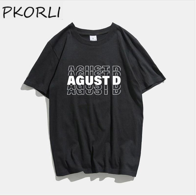 Korean Fashion Kpop Agust D Tshirt Women Casual Cotton Short Sleeve T-shirt Woman Clothes Summer Tshirt Oversize Short-sleeved