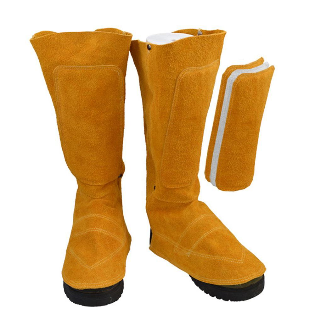 Soldador de los pies y las espinillas cubierta de botas de piel de vaca de Protector Anti-fuego aislamiento de pulverización para la soldadura de metalurgia protección de pies