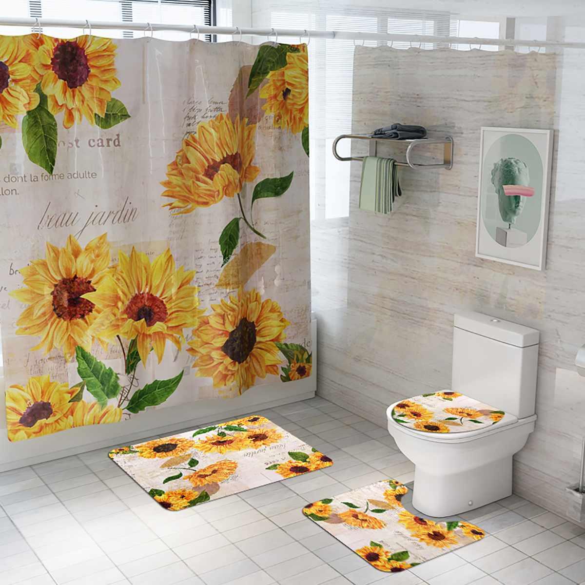 Sunflower Print Shower Curtain 4 Piece Carpet Set Toilet Cover Bath Mat Cushion Cover Bathroom Curtain 12 Hooks