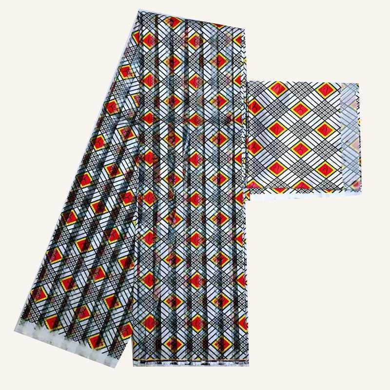 Organze fita sillk alta qualidade africano wa impressão de seda tecido 2 metros chiffon correspondência 4 metros cetim seda frete grátis