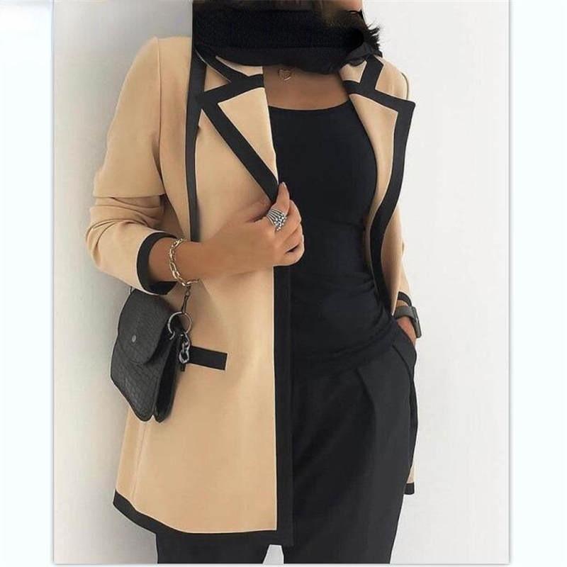 Женские куртки с английским воротником, блейзеры с длинными рукавами, элегантные Рабочие куртки, женские осенние и ранние осенние блейзеры
