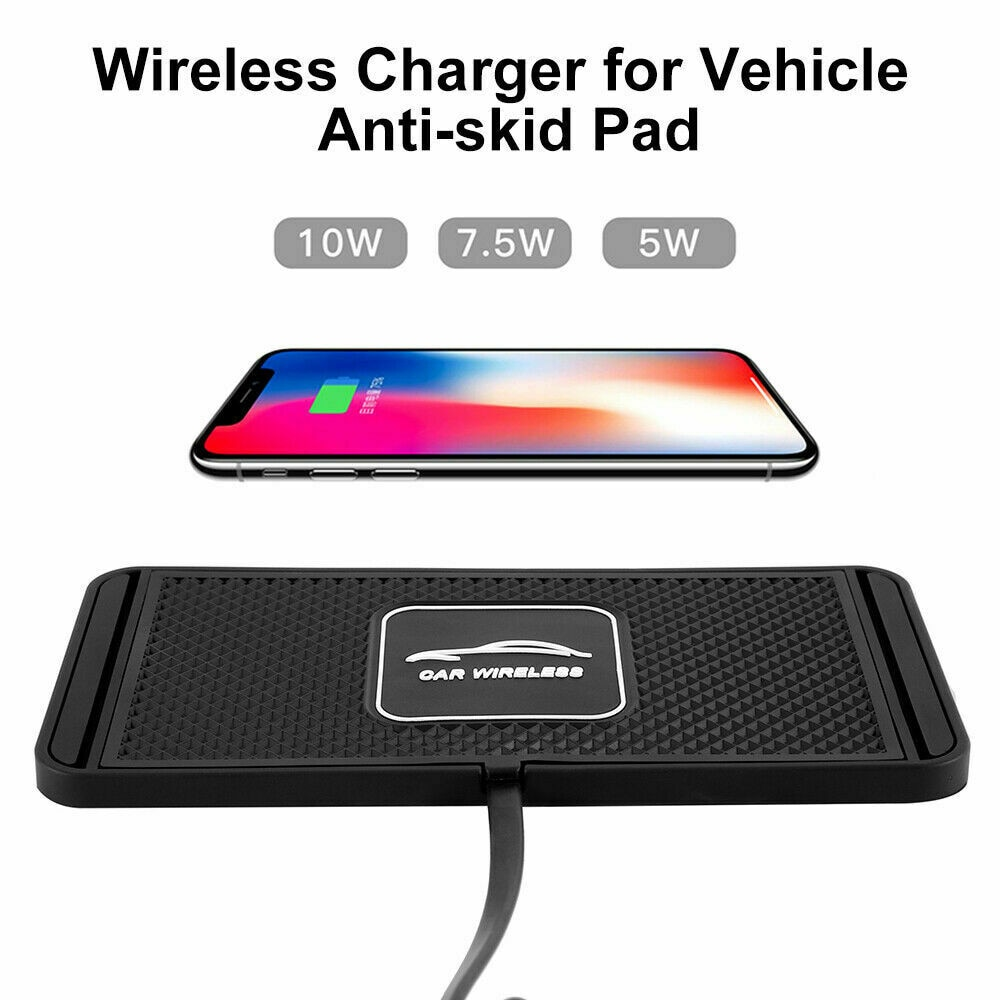 10W 2in1 Non-slip Silicone Mat Car Dashboard Holder Stand Fast Charging Qi Wireless Charger Dock Sta