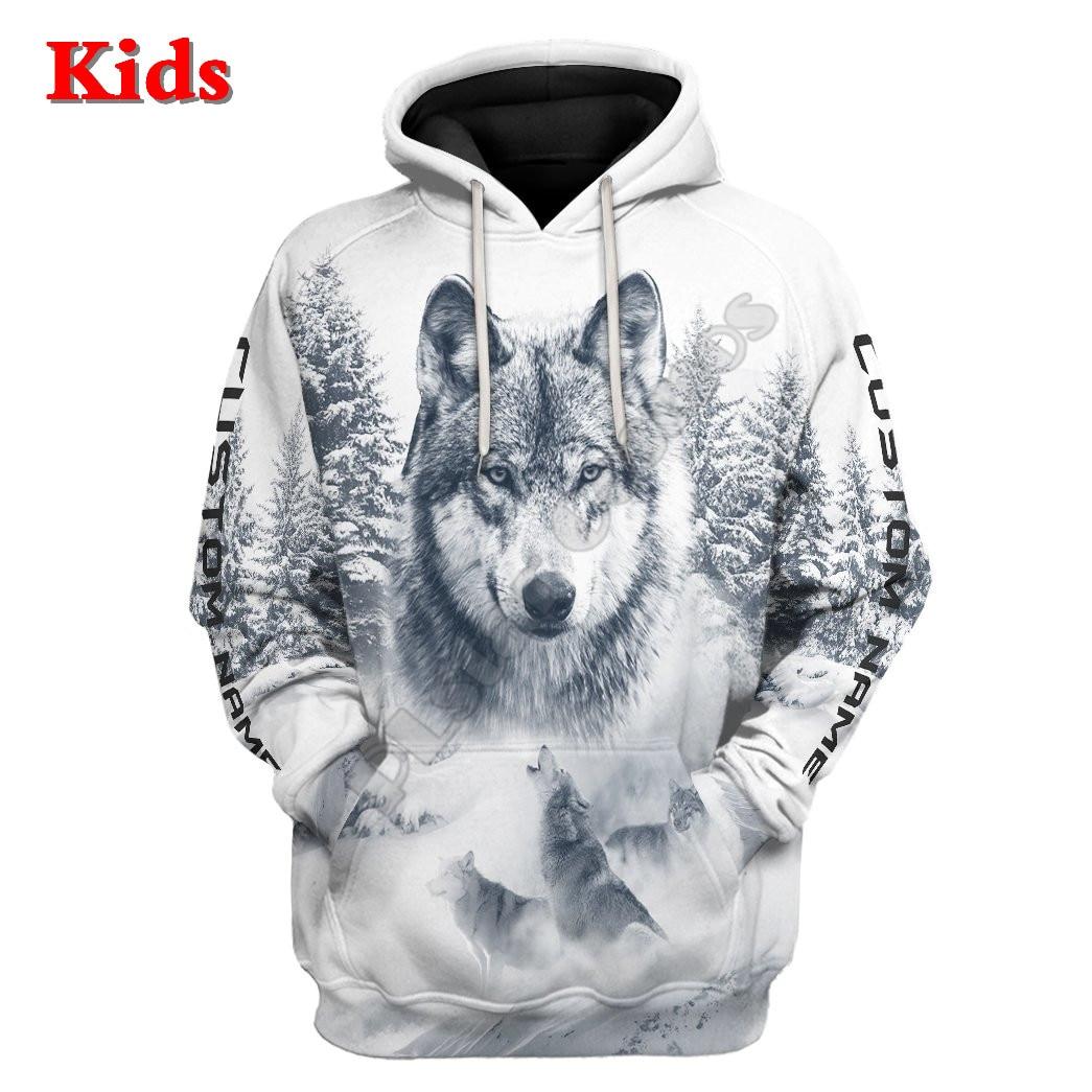 Wolf Snow Funny Hoodies T-shirt 3D Printed Kids Sweatshirt Jacket T Shirts Boy Girl Funny Cosplay Costumes 02 t t flynn hunted wolf