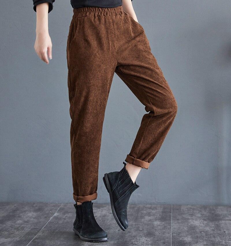 Новинка 2021, женские весенне-осенние хлопковые брюки, женские брюки высокого качества, зимние Утепленные вельветовые брюки, удобные брюки